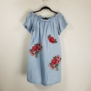 A.N.A off shoulder rose embroidered Jean tunic XS